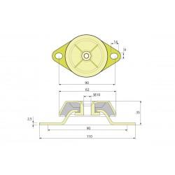 Виброопора (PDH62/35/90 M10 NR60)